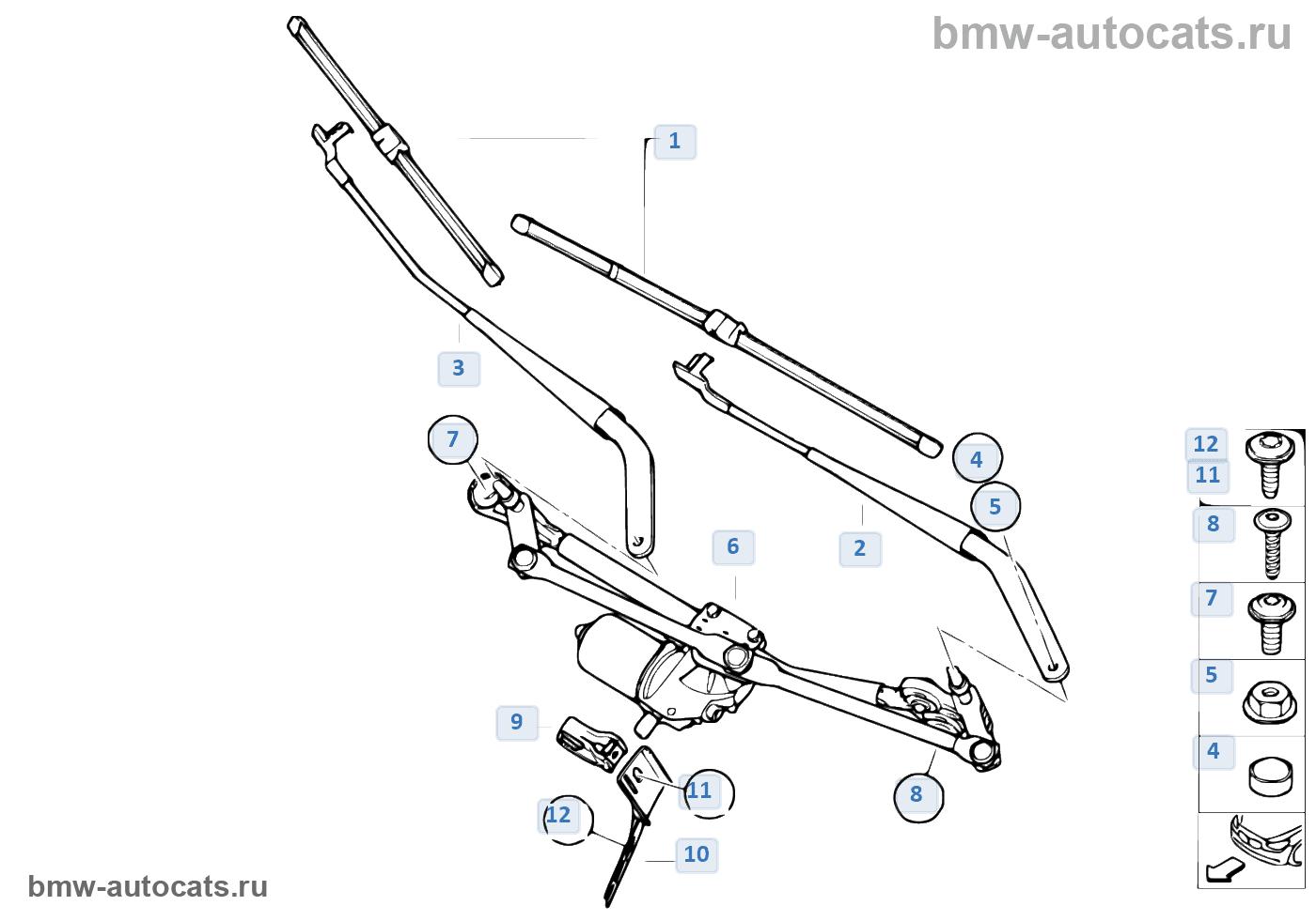 BMW x5 e53 размер щеток стеклоочистителя