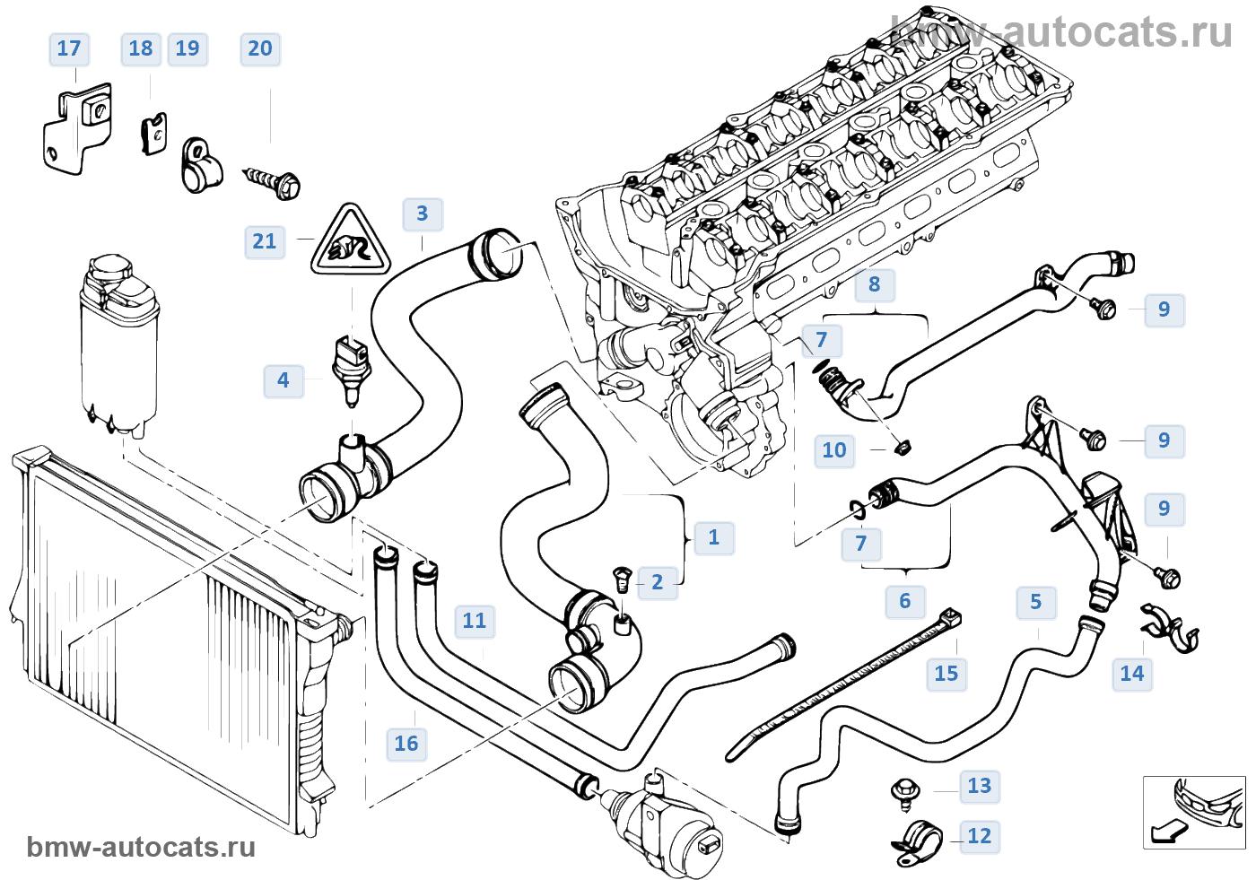 bmw 530d e39 насос охлаждения