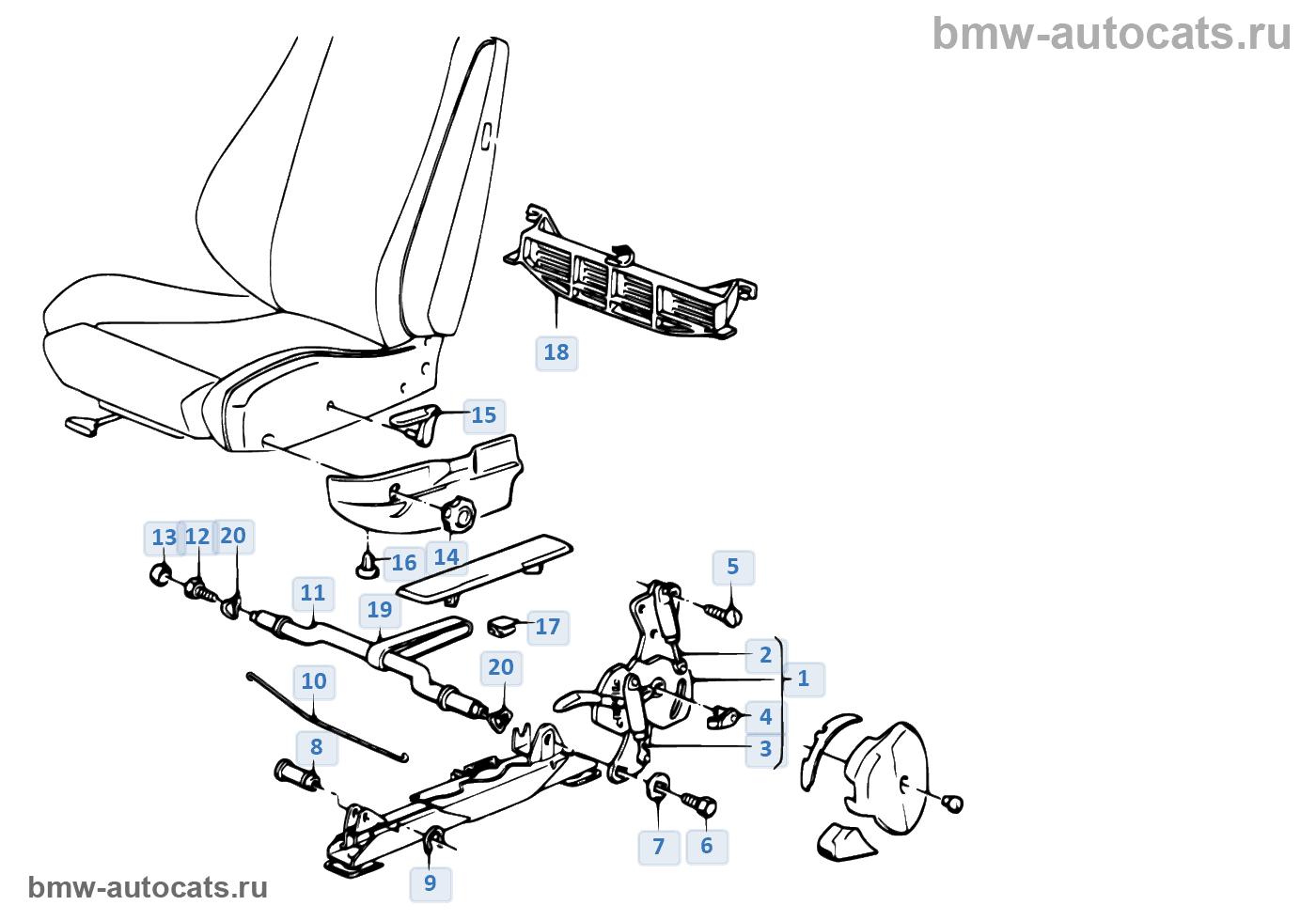 Фурнитура сиденья с откидной спинкой