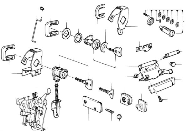 Ручка двери Пд/запорный механизм/ключ